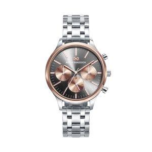 Reloj Mujer de acero marrón y oro rosa